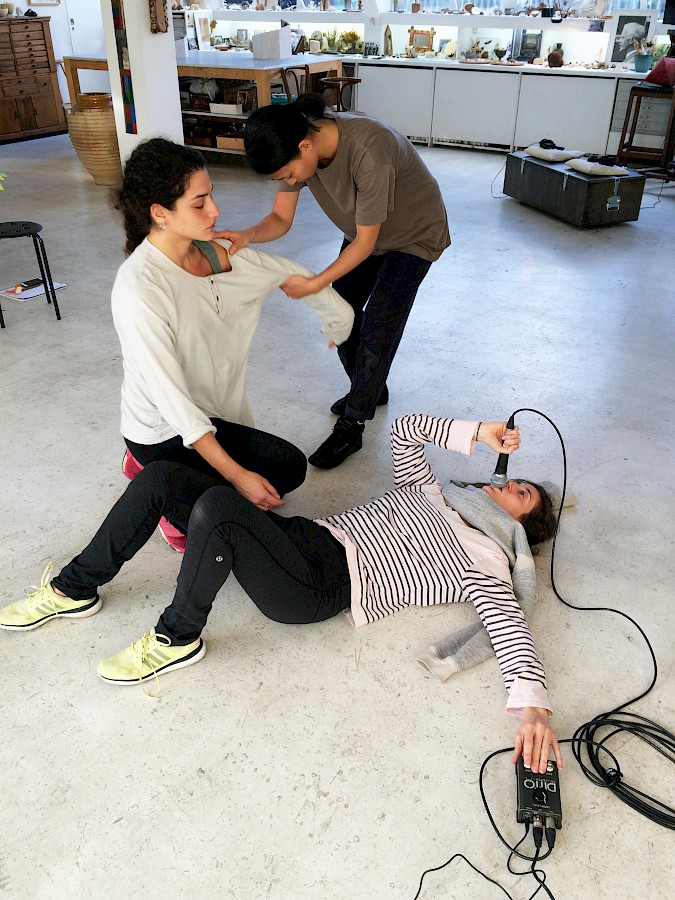Rehearsal of 'Anthology of Anger' by Alexis Blake. Additional performers: Mami Izumi and Marika Meoli. Scheduled open rehearsals during the exhibition opening times. Work commissioned for STH. Photo: © Charlott Markus